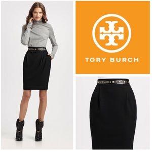 NWT [TORY BURCH] Chic Studded Black Pencil Skirt